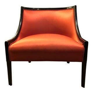 Hollywood Regency Burnt Orange Barrel Back Low Arm Slipper Chair For Sale