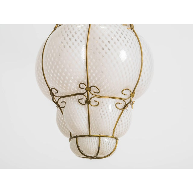White Italian Handblown Murano Lantern For Sale - Image 8 of 9