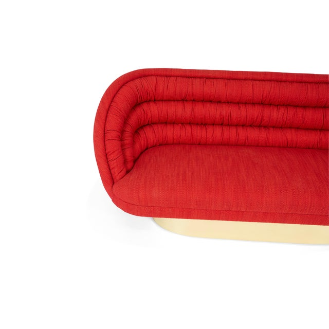 1970s Vladimir Kagan Crescent Sofa on Brass Base For Sale - Image 5 of 6
