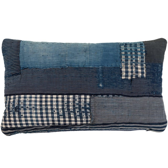 Late 19th Century Antique Japanese Boro Textile Pillow For Sale - Image 5 of 5