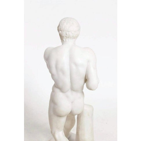 Grand Tour 19th Century Antique Grand Tour Canova's Damoxenos the Boxer Marble Reduction Sculpture For Sale - Image 3 of 9