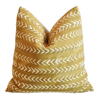 "African Mud Cloth Malian Gold & Cream Feather/Down Pillow 22"" Square For Sale"