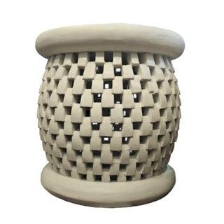 Bamileke Basketweave Carved Side Table For Sale