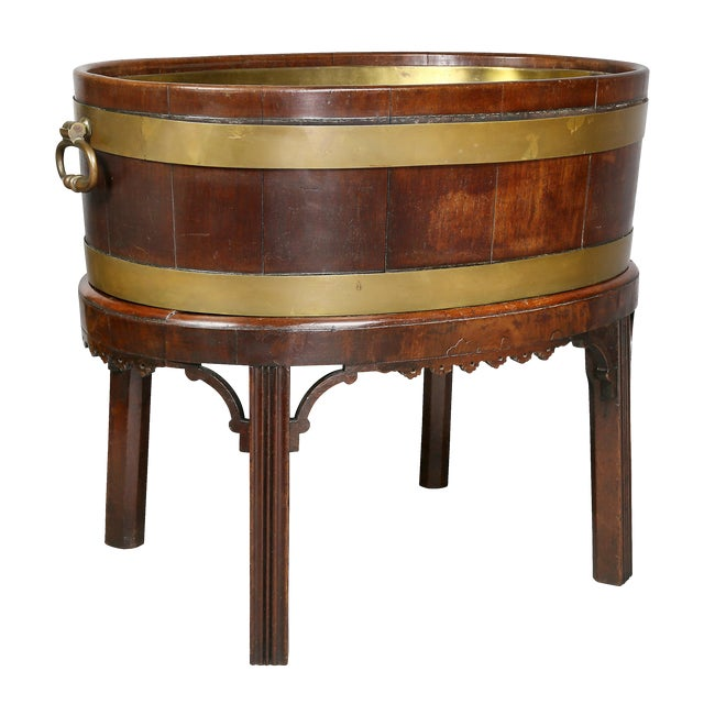 George III Mahogany and Brass Mounted Wine Cooler For Sale