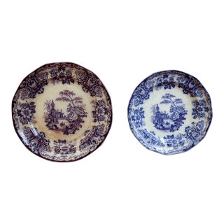 Antique Chinoiserie Transferware Plates - a Pair For Sale