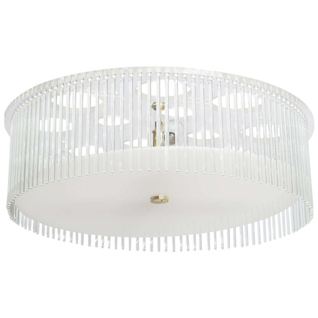Mid Century Modern Lucite and Glass Rods Chandelier For Sale