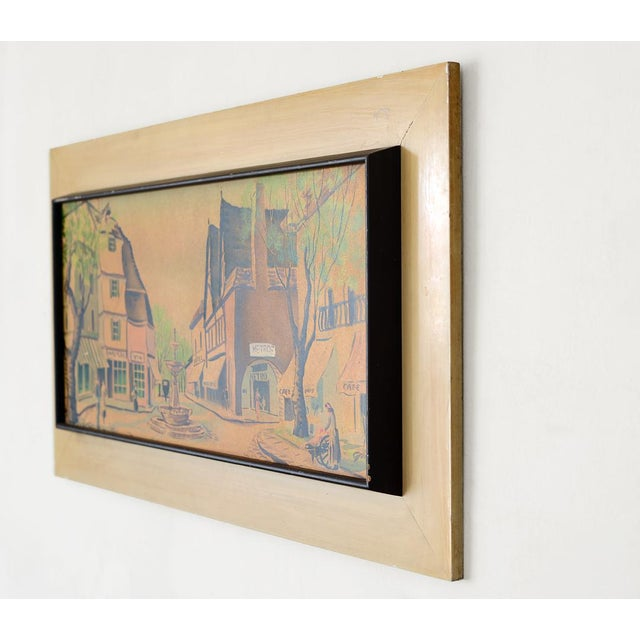 Vintage French Village Town Square Watercolor Painting For Sale - Image 4 of 10