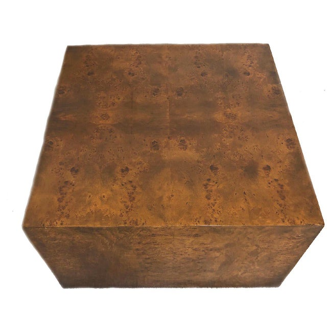 Mid-Century Modern 1970s Milo Baughman Burl Wood Large Cube End Table For Sale - Image 3 of 13