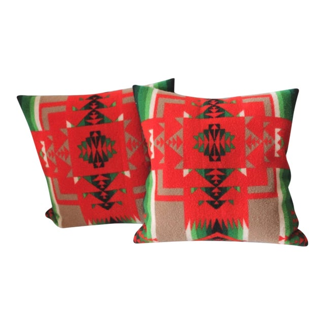Pair of Pendleton Indian Design Blanket Pillows For Sale