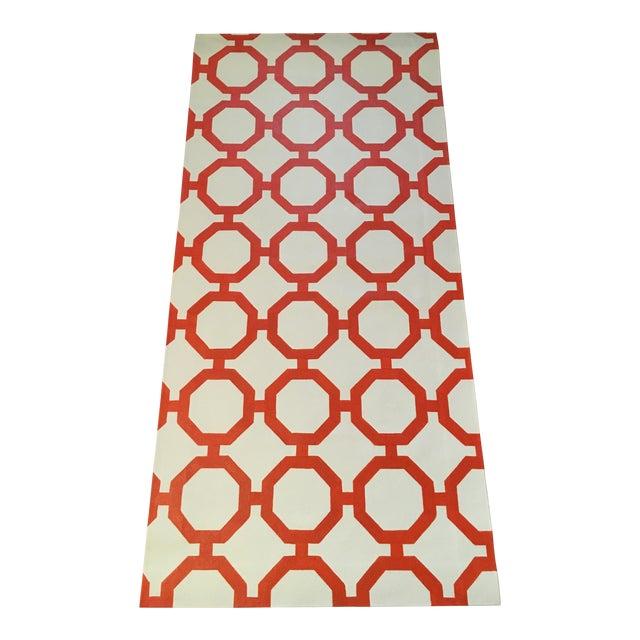 """Orange & White Canvas Rug - 2'6"""" x 5'2"""" - Image 1 of 4"""