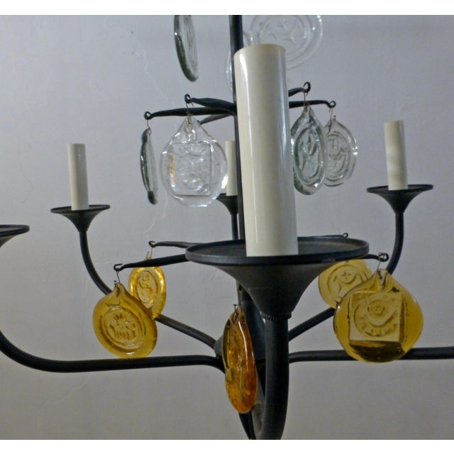 Iron Eric Hoglund 1960s 6 Arm Black Iron and Boda Nova Crystal Chandelier Yellow & Clear Axel Stromberg Ironworks Sweden For Sale - Image 7 of 8