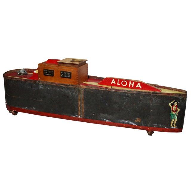 "Large Handmade Tramp Art Hawaiian ""Toy Ship"" Box For Sale - Image 9 of 9"