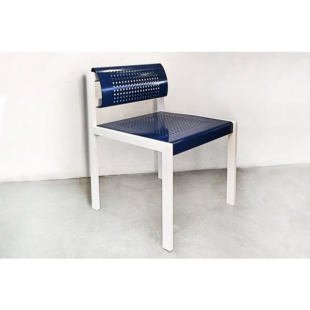 Set of 4 heavy duty steel patio chair with rectangular tube frame and perforated sheet metal seat and back. Super modern...