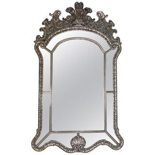 Vintage Venetian Style Silver Gilt Carved Wood Mirror For Sale