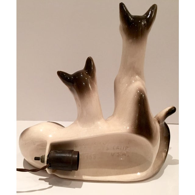 Vintage Siamese Twin Ceramic Cat Lamps - A Pair For Sale - Image 7 of 8