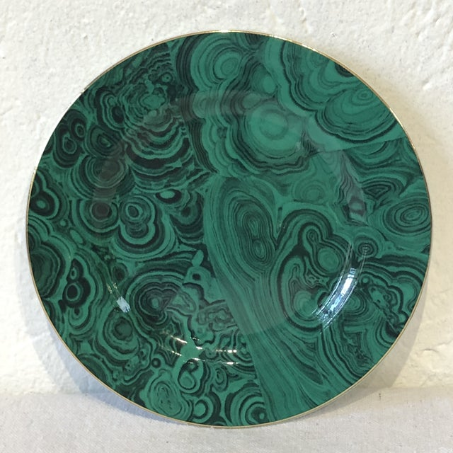 Transitional Green Faux Malachite Small Plates - Set of 6 For Sale - Image 3 of 8