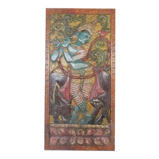 Vintage Indian Carved Fluting Krishna Wall Relief Sculpture Barndoor For Sale