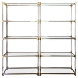 Midcentury Pair of Brass Lucite and Glass Étagère, Pair of Five Shelves Etagere