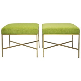 Pair of Brass X-Base Stools by Paul McCobb For Sale
