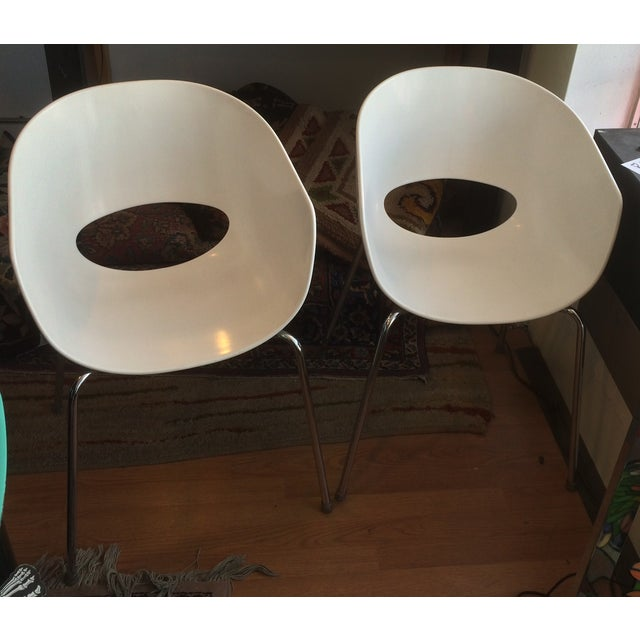 Chrome Designer Sintesi of Italy Retro Orbit Chairs - Pair For Sale - Image 7 of 7