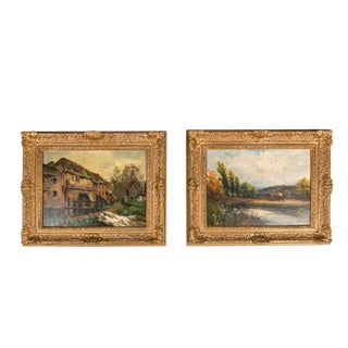 Late 19th Century Pair Oil Painting / Giltwood Frame . For Sale