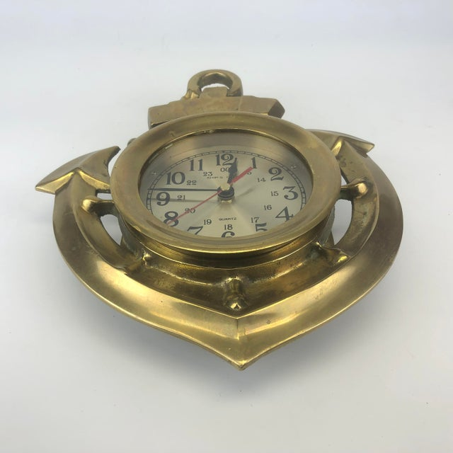 Nautical Vintage Brass Anchor Wall Clock For Sale - Image 3 of 11