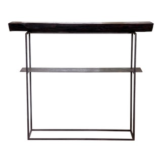 "Organic Modern Natural Edge Long-Leaf Pine Entry Console 39"" For Sale"
