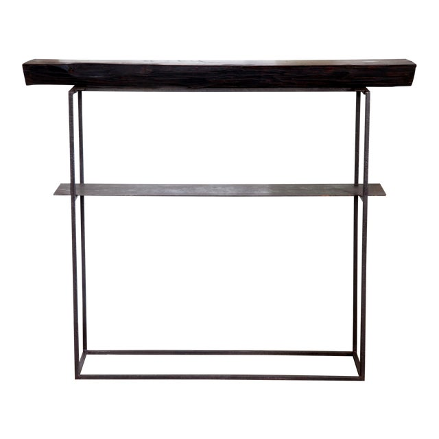 """Organic Modern Natural Edge Long-Leaf Pine Entry Console 39"""" For Sale"""