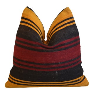 """Red, Gold & Chocolate Boho-Chic Striped Turkish Carpet Feather/Down Pillow 18"""" Square For Sale"""