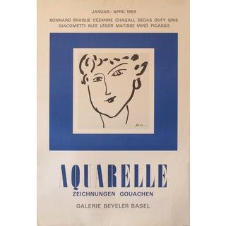 1969 Original French Matisse Exhibition Poster, Aquarelle (Watercolour) For Sale
