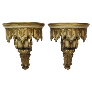 Pair of Jansen Rococo Style Painted and Gilt Brackets For Sale