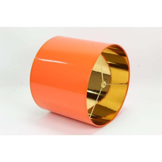 Not Yet Made - Made To Order Orange High Gloss Drum Lamp Shade With Gold Lining For Sale - Image 5 of 8
