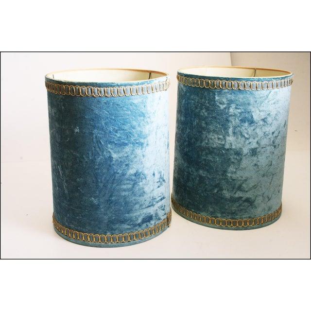 Vintage Hollywood Regency Blue Crushed Velvet Lamp Shades - A Pair - Image 9 of 10