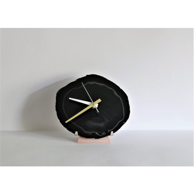 Black Agate Slice Desk Clock - Image 2 of 7