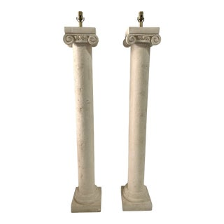 Column Plaster Floor Lamps - a Pair For Sale