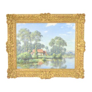 "19th Century British ""Cottage Beside Pond"" Landscape Oil Painting For Sale"