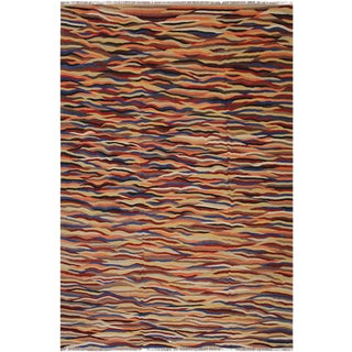Abstract Expressionism Candis Hand-Woven Kilim Wool Rug - 8′4″ × 9′9″ For Sale
