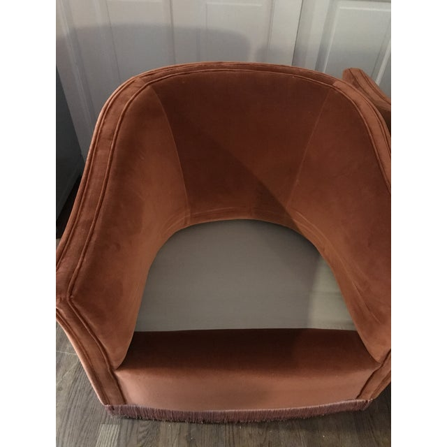 1970s Vintage Rust Color Velvet Swivels Chairs- A Pair For Sale In Dallas - Image 6 of 13