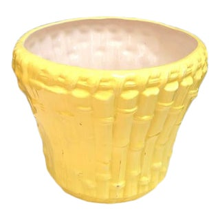 Mid Century Yellow Ceramic Faux-Bamboo Planter For Sale