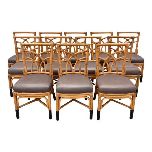 Bamboo & Leather Dining Chairs, S/12 For Sale