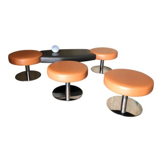 Post Modern Chrome and Peach Vinyl Seating Area Furniture - Set of Five For Sale