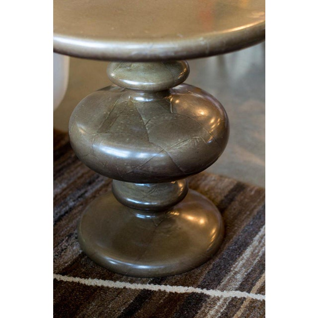 Brown Pair of Goatskin Side Tables in the Manner of Aldo Tura For Sale - Image 8 of 12