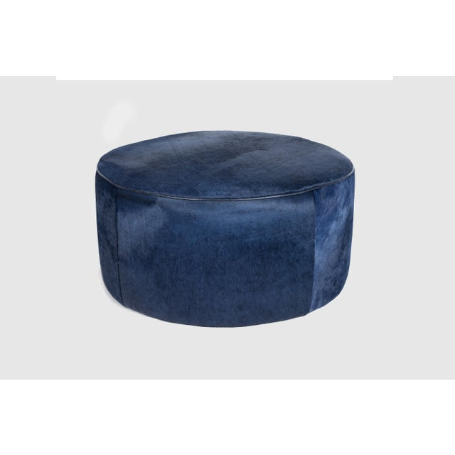 """Gregg Floating Ottoman Navy 36"""" Hair on hide Please allow 4 weeks before the item ships."""