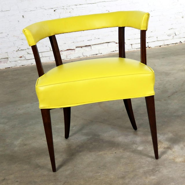 Mid Century Modern Yellow Vinyl and Oak Barrel Back Side Chair For Sale - Image 9 of 13