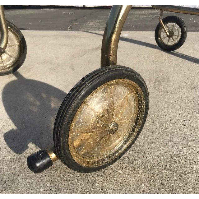 Mid-Century Wood Slat & Metal Rolling Bar Cart - Image 5 of 10