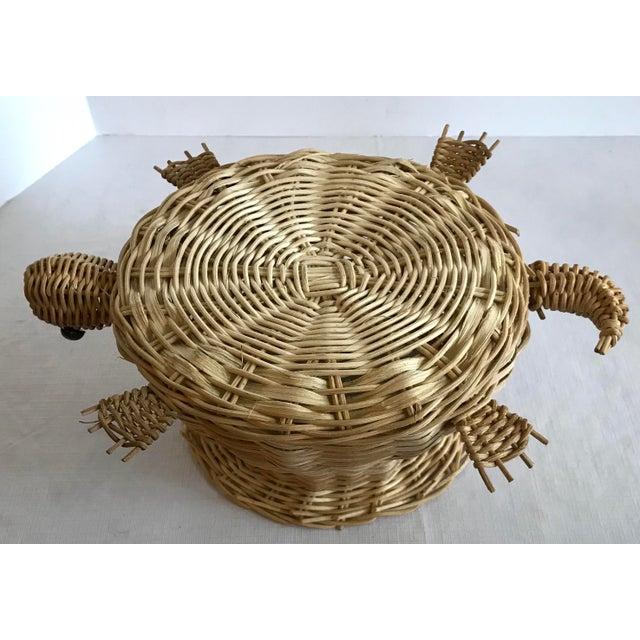 Wicker Vintage Wicker Turtle Planter Basket For Sale - Image 7 of 8