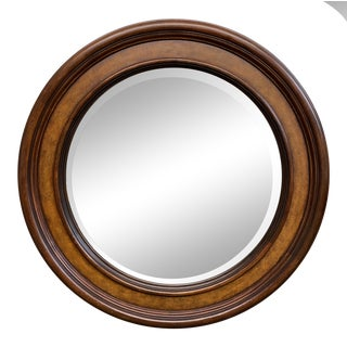 Ethan Allen Round Wood Wall Mirror For Sale
