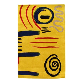 Pasargad Modern Hand Tufted Wool Yellow Area Rug - 5' X 8 For Sale
