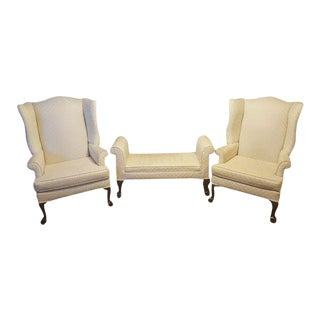 1990s Antique Mahogany Ball & Claw Wing Back Arm Chairs - Set of 3 For Sale