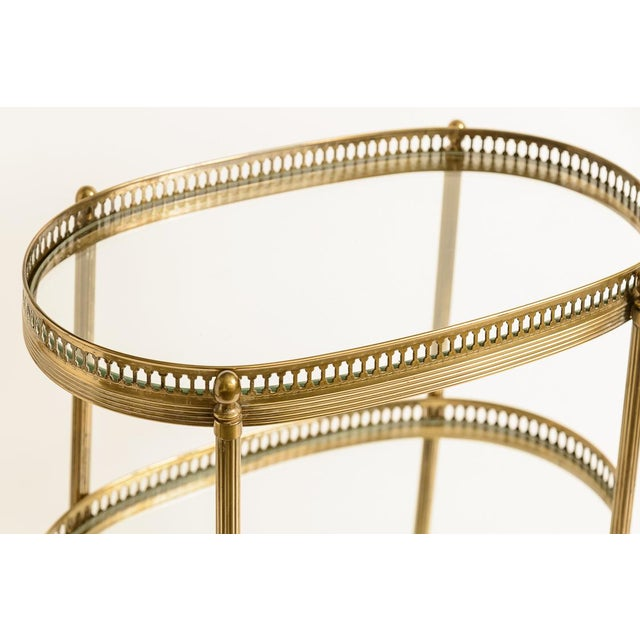 Gold French Petite Brass Three Tier Gallery Table, After Maison Jansen For Sale - Image 8 of 13